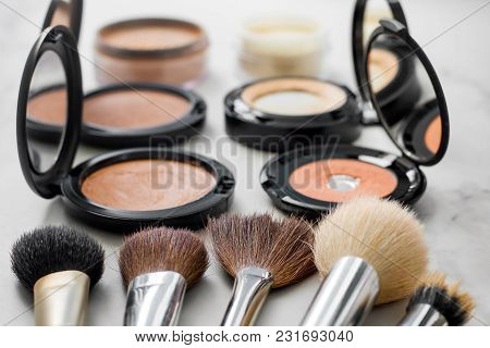Set Of Decorative Cosmetic. Make Up Brushes Different Size And Color. Face Powders, Blush, Foundatio