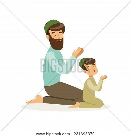 Bearded Muslim Man And His Son Praying To Allah. Islamic Religion. Arab Family. Father And Child In