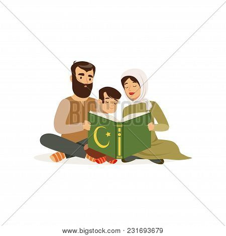 Father, Mother And Their Little Son Sitting On Floor And Reading Holy Book. Islamic Religion. Muslim