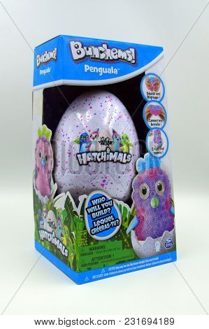 Amsterdam, The Netherlands - March 18, 2018: Bunchems Hatchimals Penguala Surprise Egg In Retail Box