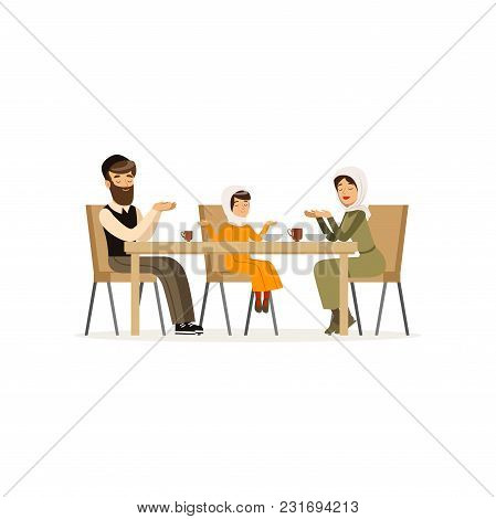 Muslim Family Sitting At Dinner Table. Mother, Bearded Father And Their Daughter. Cartoon Character