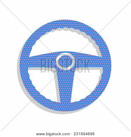 Car Driver Sign. Vector. Neon Blue Icon With Cyclamen Polka Dots Pattern With Light Gray Shadow On W