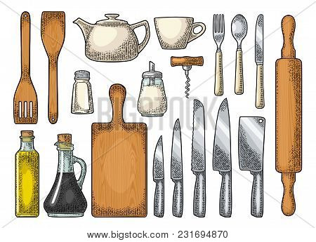 Set Kitchen Utensils. Wood Cutting Board, Manual Grinder, Spade Of Frying Pan, Knife, Spoon, Fork, B