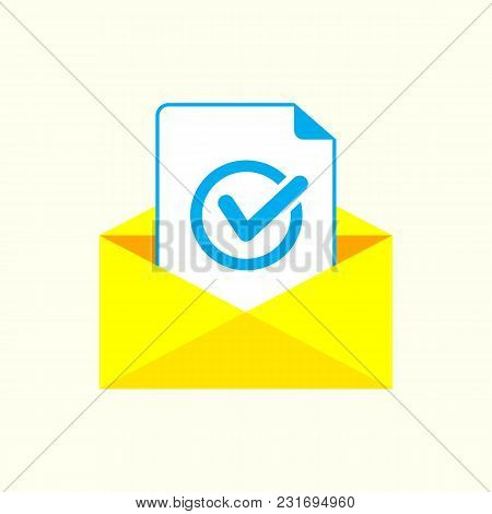 Envelope With Document And Round Blue Check Mark Icon.