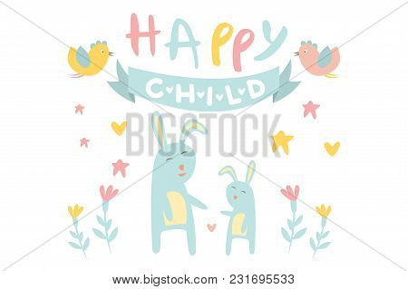 Funny Little Bunny With Mother, Blue Ribbon, Birds And Flowers. Happy Rabbit With Child. Flat Design