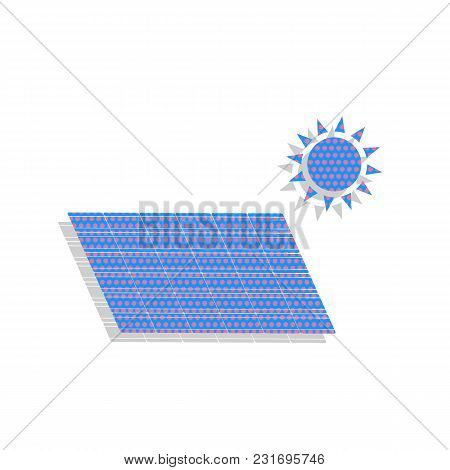 Solar Energy Panel. Eco Trend Concept Sign. Vector. Neon Blue Icon With Cyclamen Polka Dots Pattern