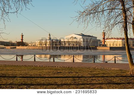View Of The Spit Of Vasilievsky Island Early In The Morning, St. Petersburg, Russia