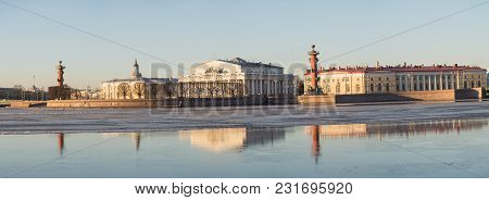Panoramic View Of The Spit Of Vasilievsky Island Early In The Morning, St. Petersburg, Russia