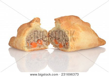 Traditional Cornish Pasty On A White Background