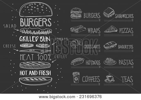 Cafe Menu Template On Black Chalkboard. Burger With Ingredients And Text. Sketch Of Dessert, Wrap, C