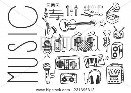 Hand Drawn Vector Illustration Of Various Musical Instruments, Microphones, Radio Receiver, Player,