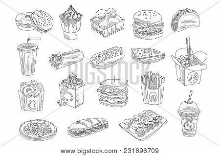 Fast Food And Drinks Sketch Set. Hand Drawn Vector Illustration Of Donuts, Ice Cream, Chicken, Hambu