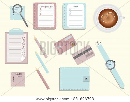 Stationary.a Planner. To Di Lists. A Cup Of Coffee. Pencils. A Wallet. Wrist Watch.magnifier.credit