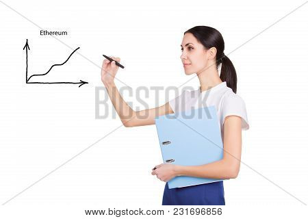 Crypto Currency Concept. Business Woman Showing Ethereum Graph Of Stock Market On White Background