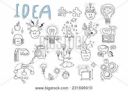 Idea Icons Set. Rocket, Puzzles, Rotating Gears, Open Book, Pens, Human Head, Magnifying Glass, Calc