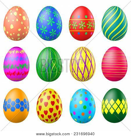 A Set Of Painted Easter Eggs With Colorful Patterns. Vector Illustration