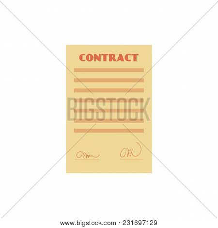 Vector Flat Contract Paper Icon. Agreement Document Symbol, Corporate Legal Financial Deal, Partners