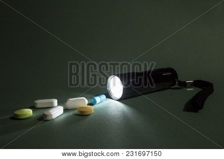 Medicines And Pills On The Table As A Concept Of Investigations In The Field Of Counterfeit Medicine