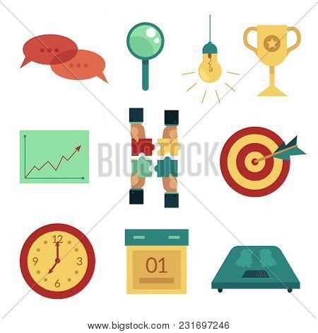 Vector Flat Business Symbols Icon Set. Darts Target Dashboard, Magnifier, Light Bulb, Champion Prize