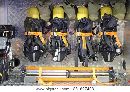 Self Contained Breathing Apparatus With Compressed Air In Firefighter Truck