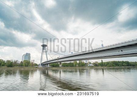Bratislava, Slovakia - 17 April 2017 : Ufo Bridge And The Building Along Danube River