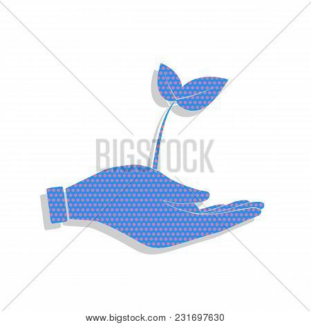 Sprout In A Hand Sign Of Environmental Protection. Vector. Neon Blue Icon With Cyclamen Polka Dots P