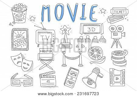 Set Of Doodle Icons Related To Cinema. Movie Production Objects. Videocassette, Director S Chair, Re