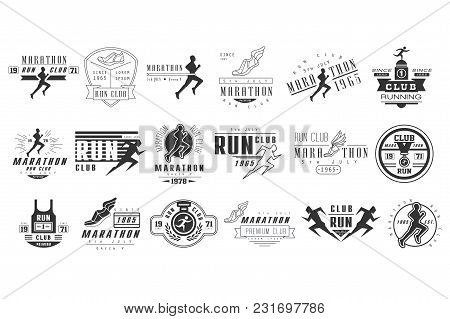 Collection Of Monochrome Logos For Marathon Or Run Club. Emblems With Silhouettes Of People And Spor