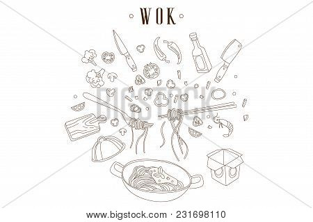 Hand Drawn Illustration Of Bowl-shaped Frying Pan With Tasty Noodles. Chinese Food. Wok, Various Cut