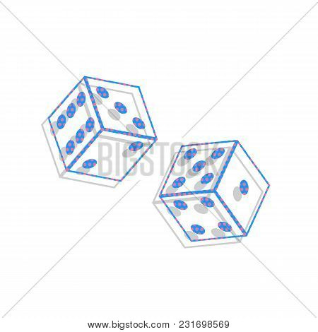 Dices Sign. Vector. Neon Blue Icon With Cyclamen Polka Dots Pattern With Light Gray Shadow On White