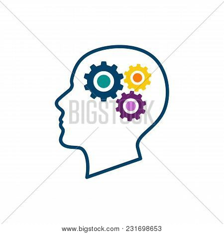Human Head With Gears And Cogs. Thinking Process, Idea Generation, Brain Functioning.