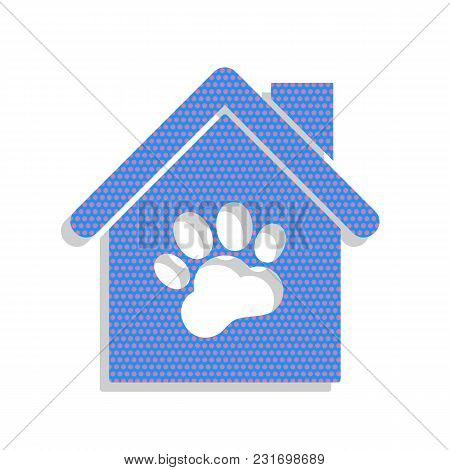 Pet Shop, Store Building Sign Illustration. Vector. Neon Blue Icon With Cyclamen Polka Dots Pattern