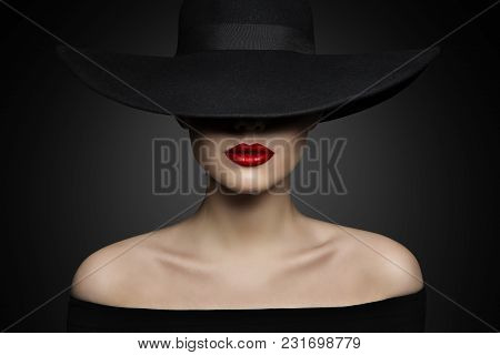 Woman Hat Lips And Shoulder, Elegant Fashion Model In Black Wide Broad Brim Hat, Retro Lady Beauty P