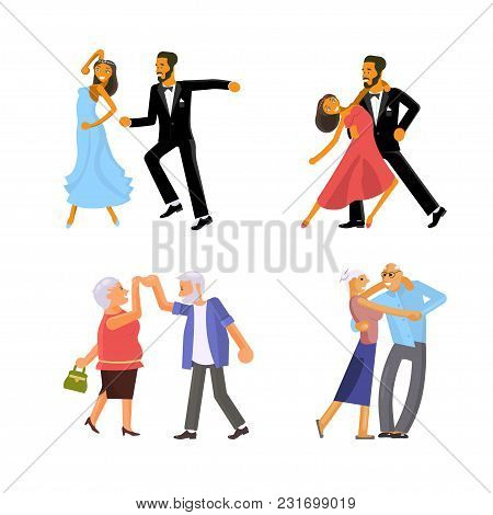 Happy People In Different Ages Are Dancing Isolated On White Background. Concept For The Studio, Dan