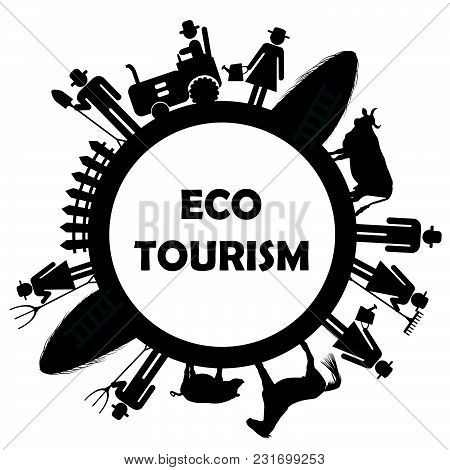 Eco Tourism Icon With Farm Worker Pictograms