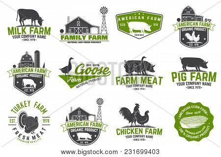 American Farm Badge Or Label. Vector Illustration. Vintage Typography Design With Chicken, Pig, Cow
