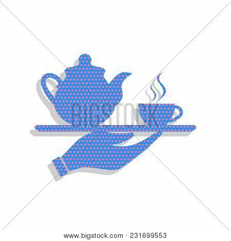 Hand With Cup Of Coffee Or Tea Sign Illustration. Vector. Neon Blue Icon With Cyclamen Polka Dots Pa