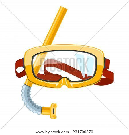 Yellow Goggles And Snorkel Isolated On White Background, Diving Mask For Summer Holidays, Vector Ill