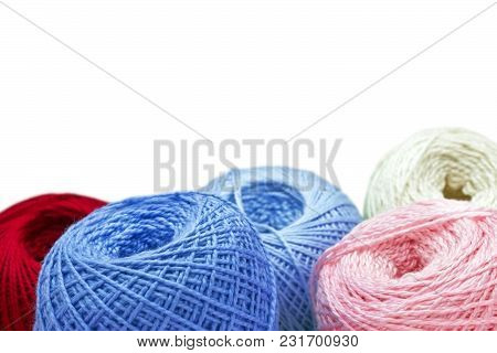 A Photo Of Knitting Yarn Balls Isolated On White Background. Selective Soft Focus. Place For Text, C