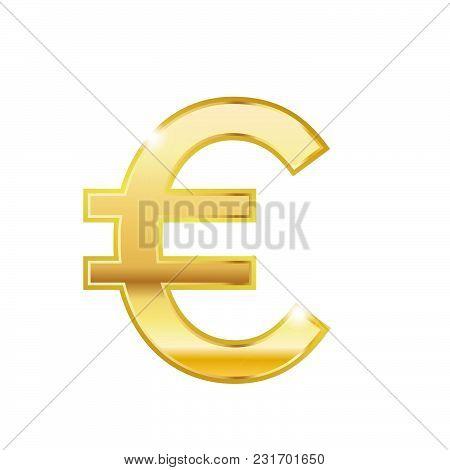 Golden Euro Symbol Isolated Web Vector Icon. Euro Trendy 3d Style Vector Icon. Golden Euro Currency