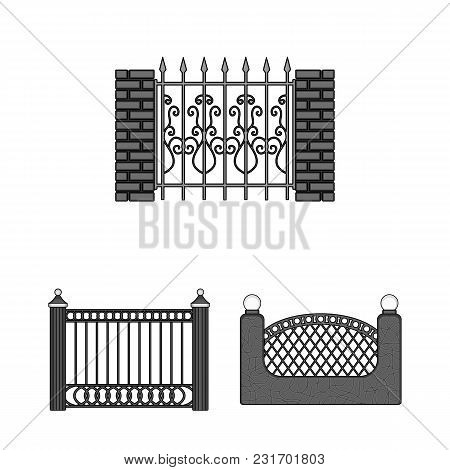 Different Fence Monochrome Icons In Set Collection For Design.decorative Fencing Vector Symbol Stock