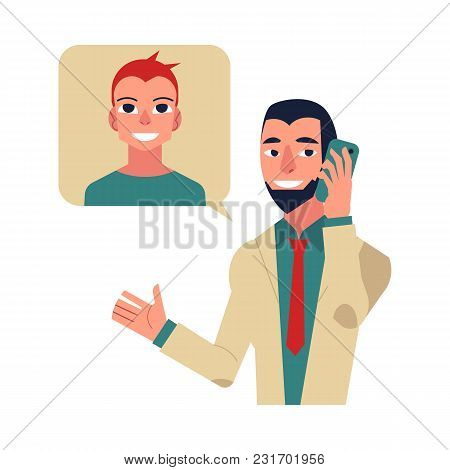 Flat Happy Doctor Calling To Patient. Telemedicine, Distiant Consultation Concept. Male Character In