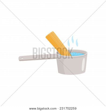Cooking Instruction Of How To Prepare Instant Noodle With Boiling Water In Bowl And Spaghetti Isolat