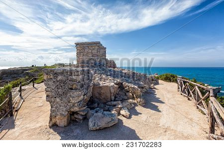 Ancient Mayan Ruins At The Cliff Of The Dawn On Isla Mujeres, Mexico