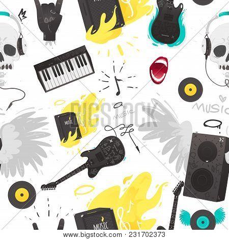 Rock Music Stuff And Musical Instruments Seamless Pattern Including Such Equipment And Symbols As El