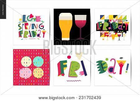 Love Spring Friday - Lettering Composition Set Of Cards