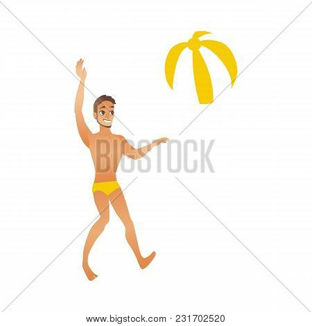 Young Smiling Man With Suntan In Swimwear Plays Two-colored Beach Ball Isolated On White Background