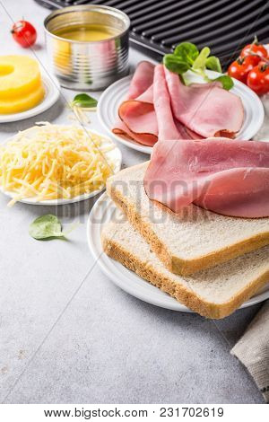 Ingredients For Making Grilled Hawaii Toast Sandwich With Ham, Pineapple, Tomato And Cheese. Healthy