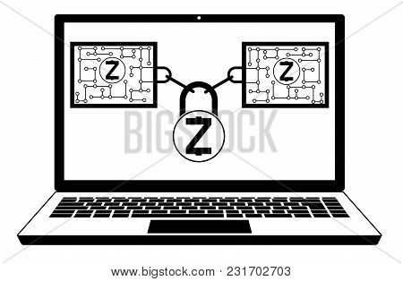 Zcash Block Chain Technology On A Screen Laptop   ,disign Concept  Black And White With Security Loc
