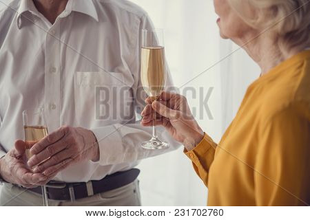 Calm Pensioners Standing With Goblets Full Of Sparking Alcohol Drink And Saying Each Other Toasts. C